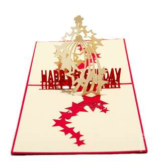 [CLEARANCE] Spiral Stars Happy Birthday 3D Pop Up Card