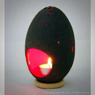 Handcrafted Ceramic Salted-Egg Lantern© - Black/Red