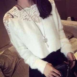 白色蕾絲毛海毛衣