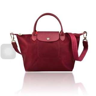 Longchamp Neo Small Sling / Crossbody / Tote Bag. Maroon/dark Red.