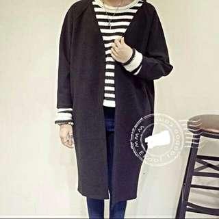全新-黑色一件)簡約慵懶感寬鬆顯瘦中長款毛呢無釦長袖外套