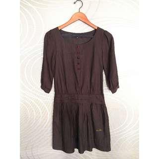 日系品牌INDIVI 深咖啡色七分袖洋裝