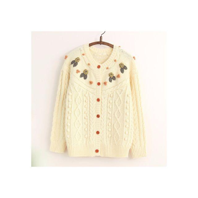米白立體手工繡花麻花毛線開衫外套