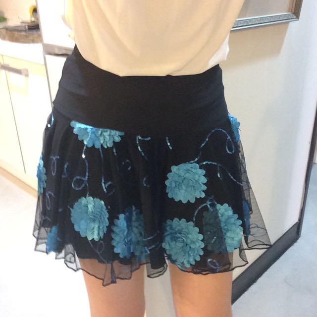 黑色花朵褲裙