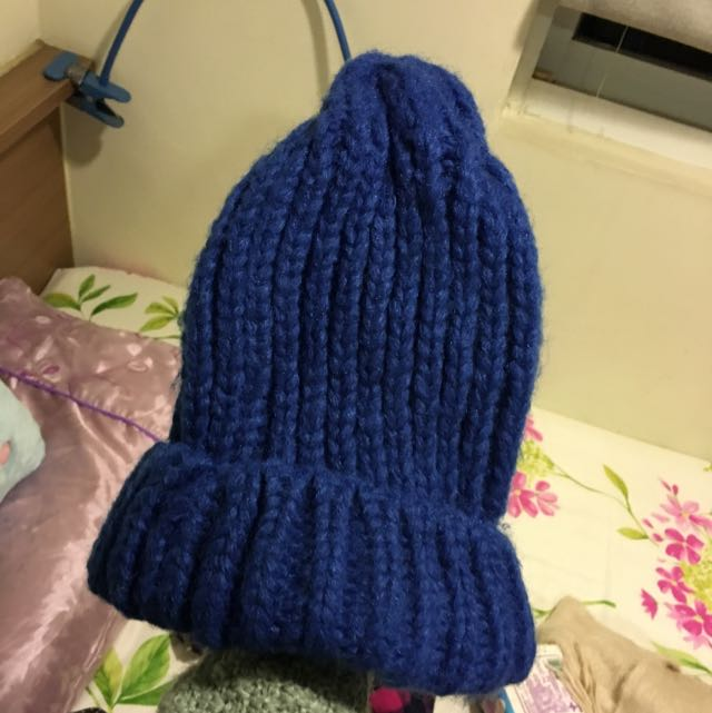 正韓-寶藍色毛帽
