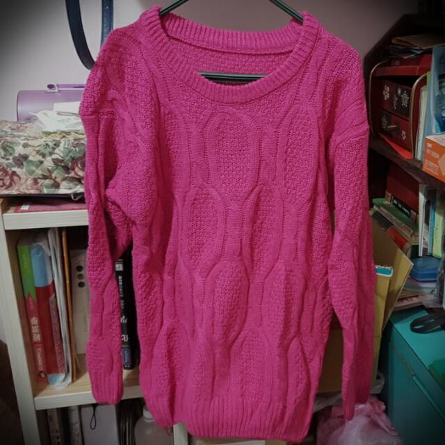 桃紅編織毛衣