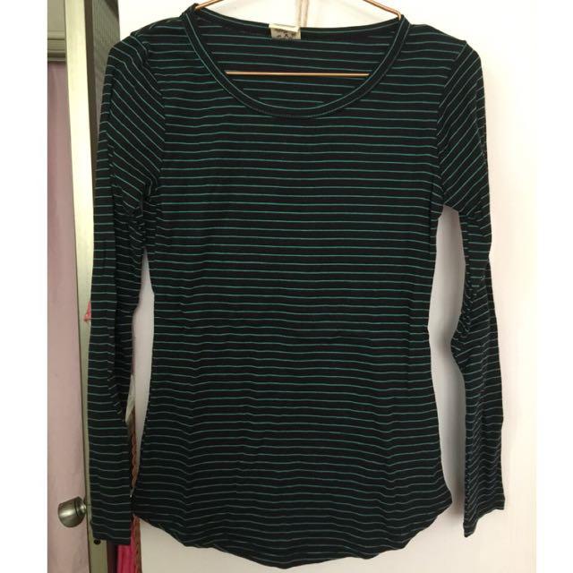 黑配綠 橫條紋上衣
