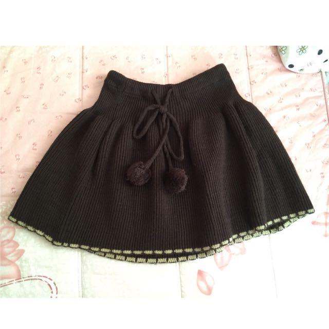 毛球咖啡色針織 兩用 披肩 短裙