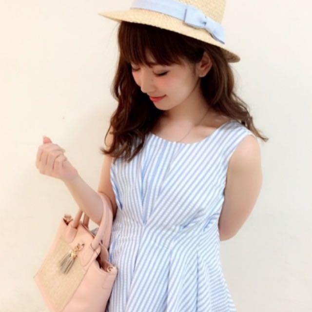 日本 dazziln 藍色條紋綁帶洋裝