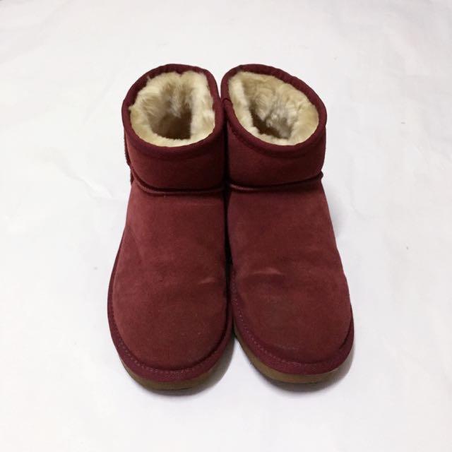 澳洲 ICCASU 酒紅色雪靴 短靴 25 40