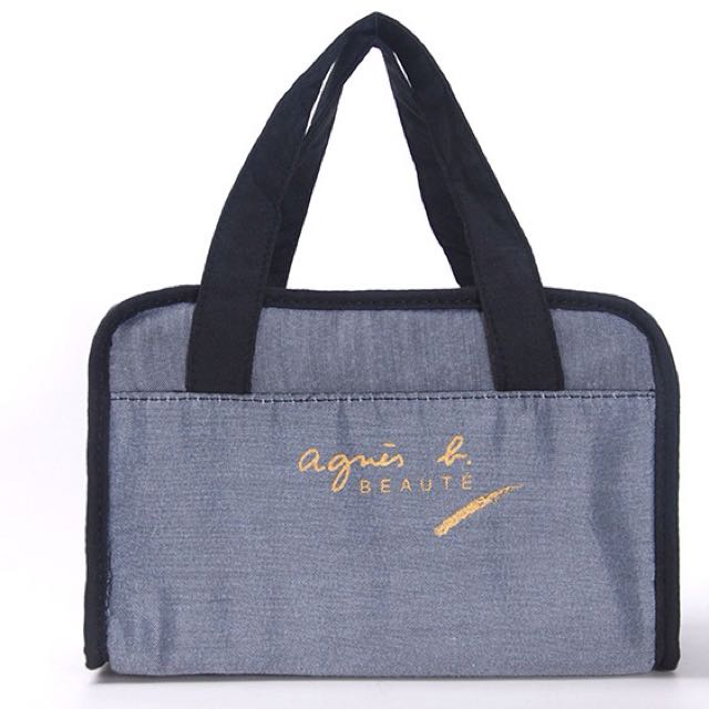 日本限定agnes b beaute大容量手提式化妝包/收納包