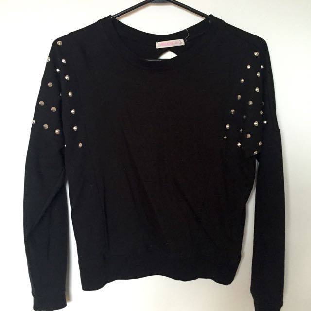 Black Shirt With Studs On Shoulders