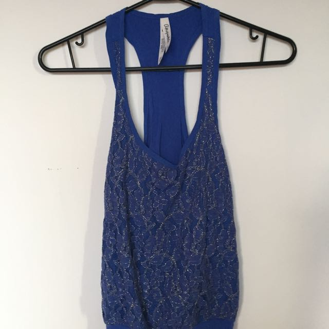 Blue Lace Front Tank Top With Low Back