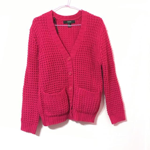 Forever21 桃紅色針織毛衣外套