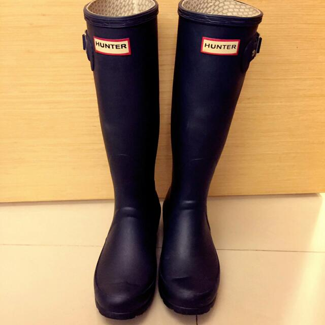 HUNTER 正品霧面藍色雨鞋6成新