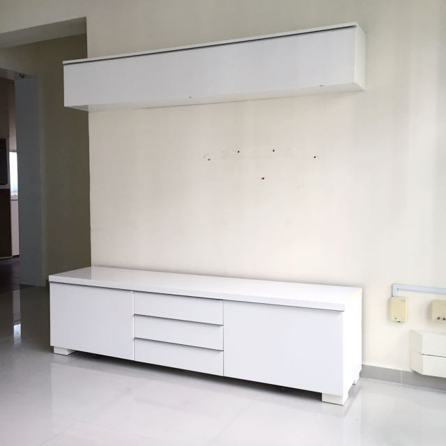 ikea besta burs high gloss white wall shelf furniture on carousell. Black Bedroom Furniture Sets. Home Design Ideas