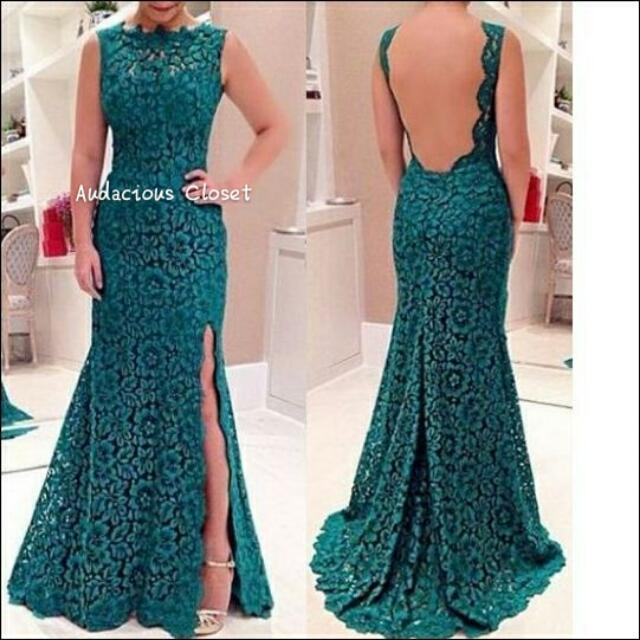 (Limited) Lace Evening Gown (Dark Green)