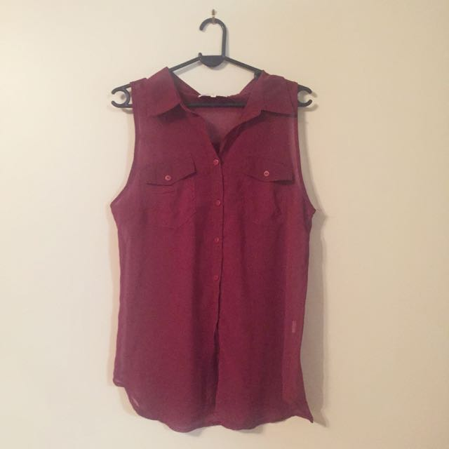 Maroon Sheer Button Up Top