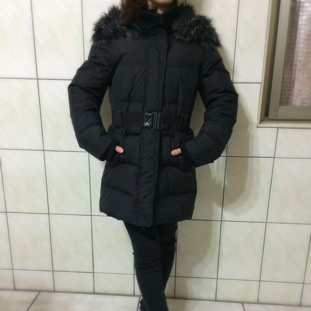 S&K 羽絨外套 修身長版 顯瘦附腰封-黑