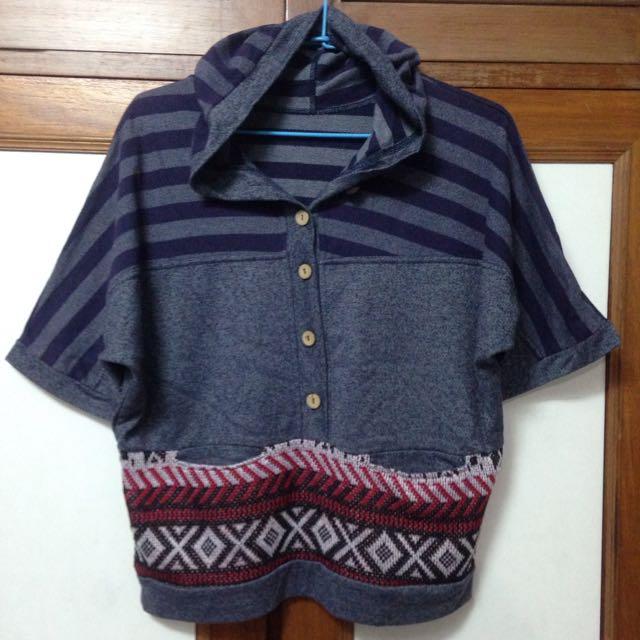 紫灰x民族風 木釦五分袖連帽上衣