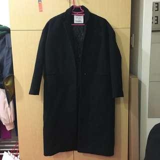 黑長版厚西裝外套