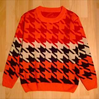橘紅千鳥格厚針織毛衣