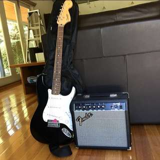 Fender Electric Guitar With Fender Amp, Pick, 5 New Strings, Guitar Tuner With Guitar Bag