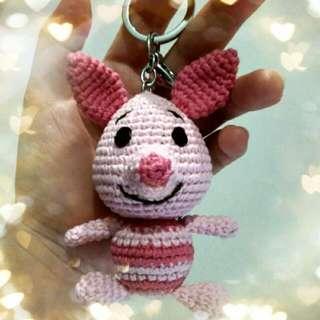 Crochet Piglet Key Chain