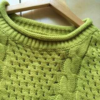 👍買到賺到👍韓製果綠麻花毛衣