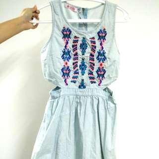 Blue Denim Mini Dress Size XS / S