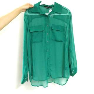 Forever 21 Green Loose Sheer Top (M-XL)