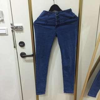四排扣深藍牛仔長褲