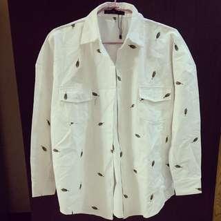 ✨全新 Oversize 刺繡白襯衫
