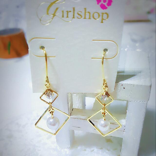✌菱形珍珠耳環💞