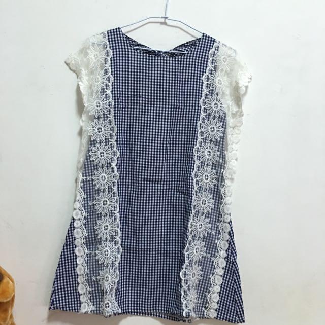 [二手]藍色格紋蕾絲邊後蝴蝶結小洋裝