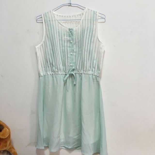[二手]薄荷綠白透條紋清新小洋裝