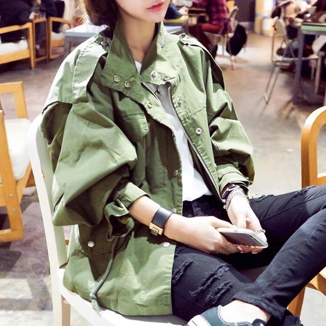 古著風韓版個性軍裝風衣廓形外套