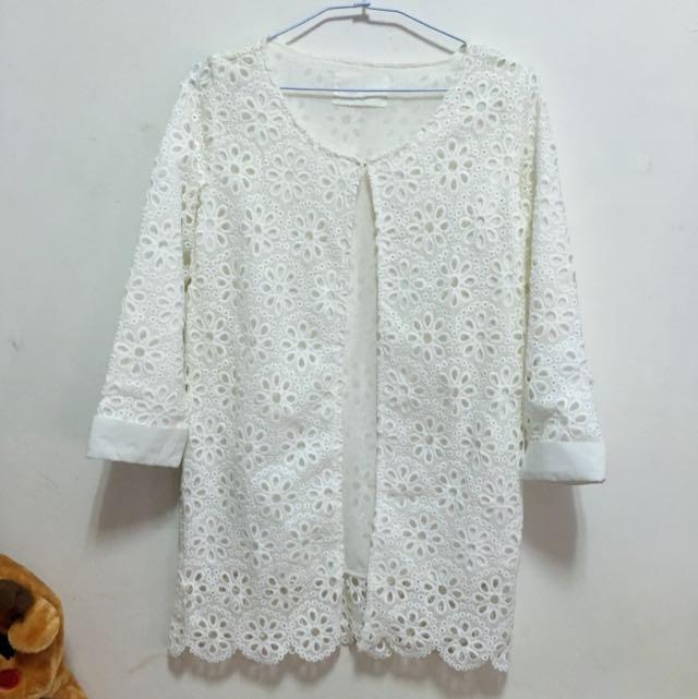 [二手]日系風氣質蕾絲花布長版七分袖外套