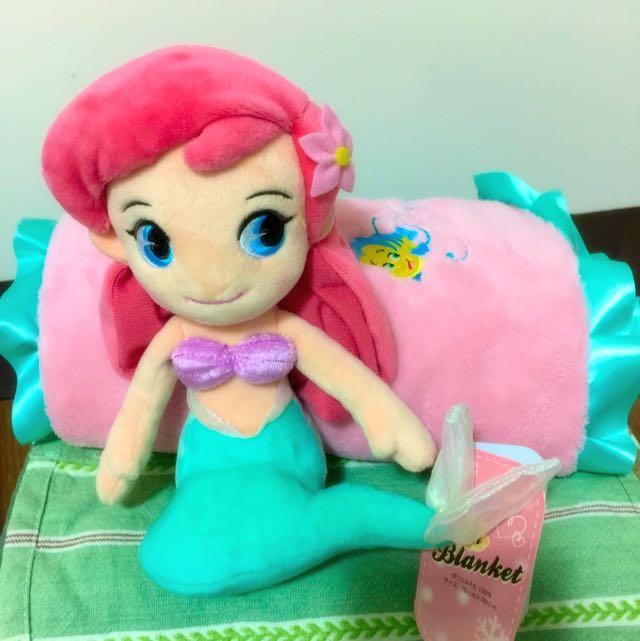 全新迪士尼購回-小美人魚愛麗兒刺繡冷氣毯
