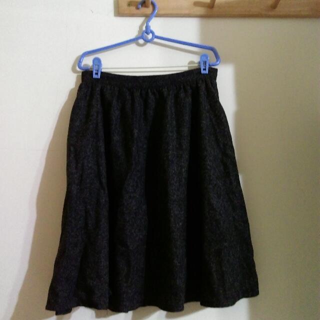 混色黑色中長裙
