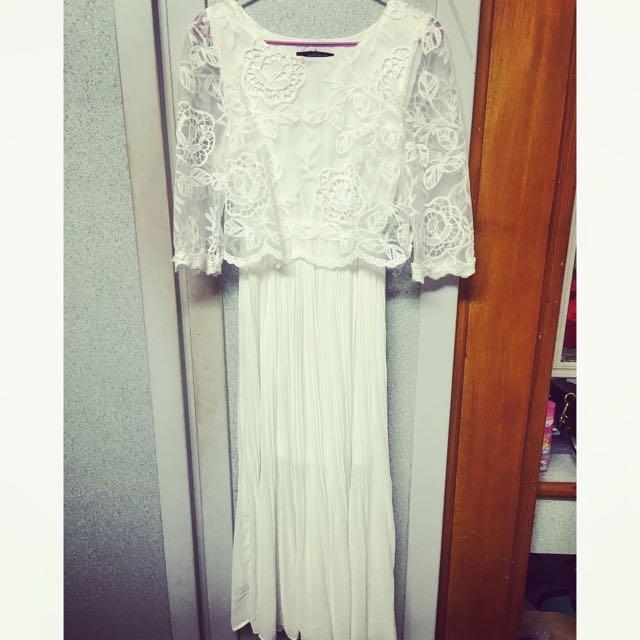 🌟全白復古蕾絲洋裝🔥