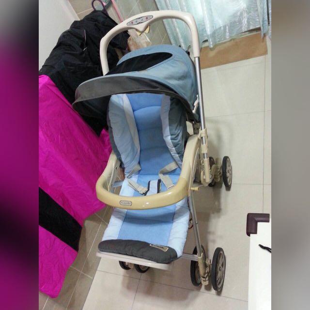 嬰兒車 二手 兩用 可折疊收納~