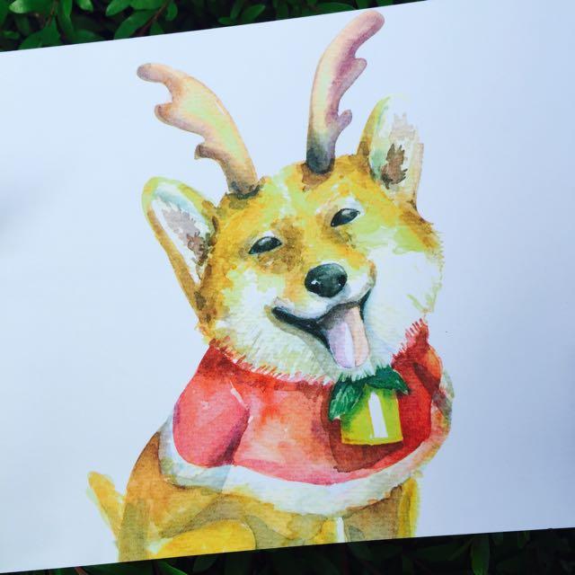 柴犬 狗 聖誕節 聖誕明信片