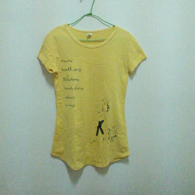 (二手) 女孩👧 黃色長版T恤