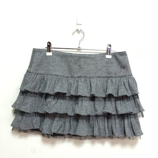 [二手]百貨專櫃knightsBridge 細千鳥格紋毛呢紗網蛋糕短裙 黑灰 M號