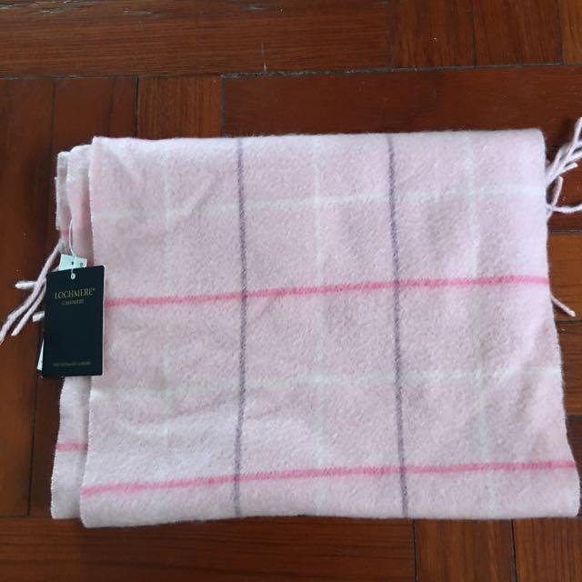 正版蘇格蘭Lochmere 粉紅格子圍巾