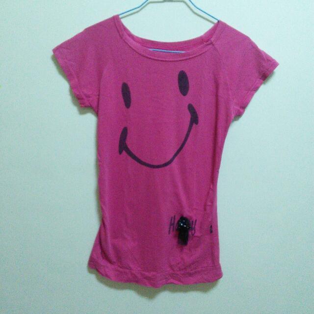 (二手)桃紅微笑長版T恤