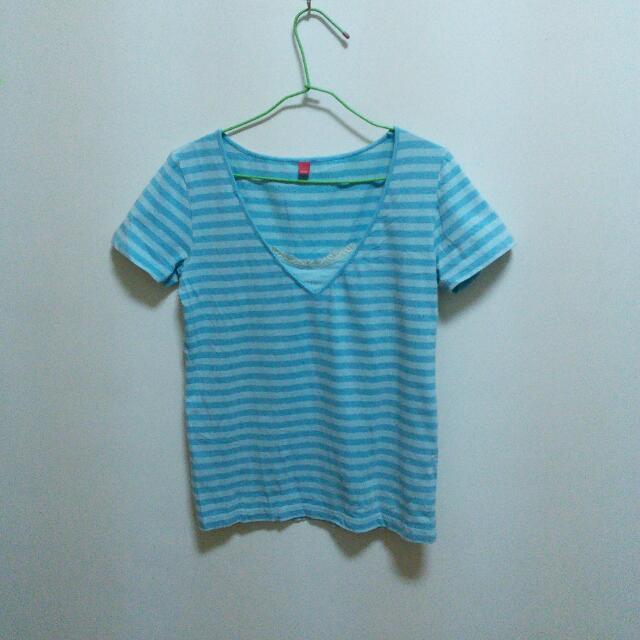 (二手)藍色條紋T恤