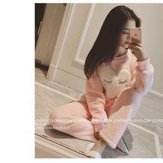 珊瑚絨加厚成套睡衣 粉 白