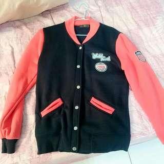桃紅×深藍 棒球外套